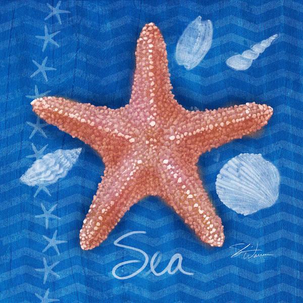 Mixed Media - Seashells On Blue-sea by Shari Warren