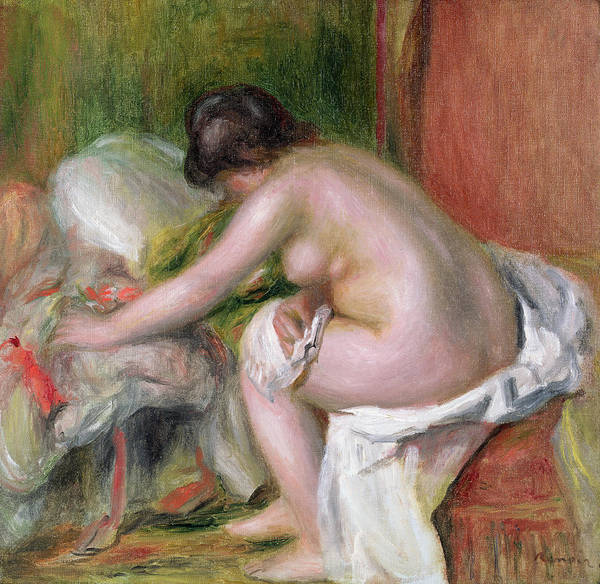 Towels Painting - Seated Bather by Pierre Auguste Renoir