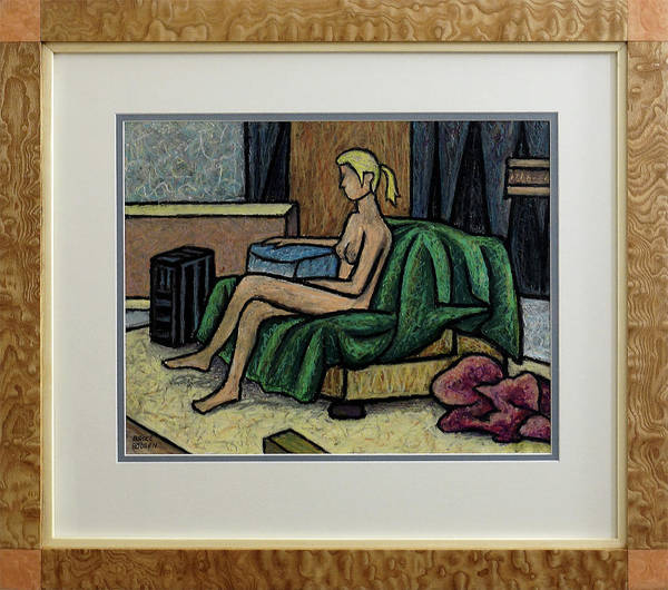 Oil Pastels Drawing - Seated Nude With Red Robe-study by Bruce Bodden