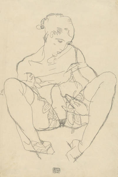 Austrian Drawing - Seated Woman In Chemise by Egon Schiele