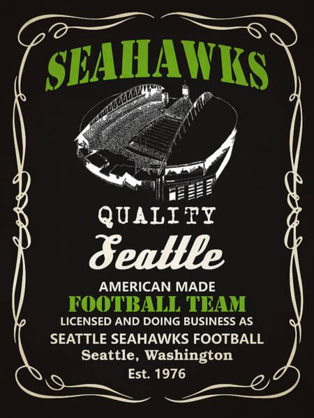 Whiskey Mixed Media - Seattle Seahawks Whiskey by Joe Hamilton