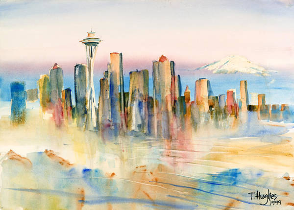 Mount Rainier Painting - Seattle Skyline by Thomas Hughes