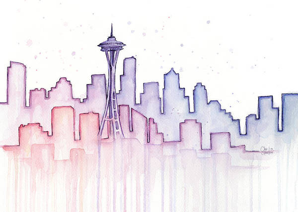 Silhouette Wall Art - Painting - Seattle Skyline Watercolor by Olga Shvartsur