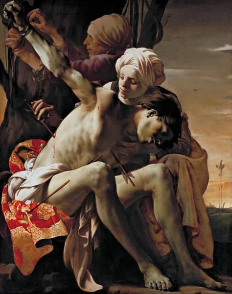 Painting - Sebastian Tended By Irene by Hendrick ter Brugghen