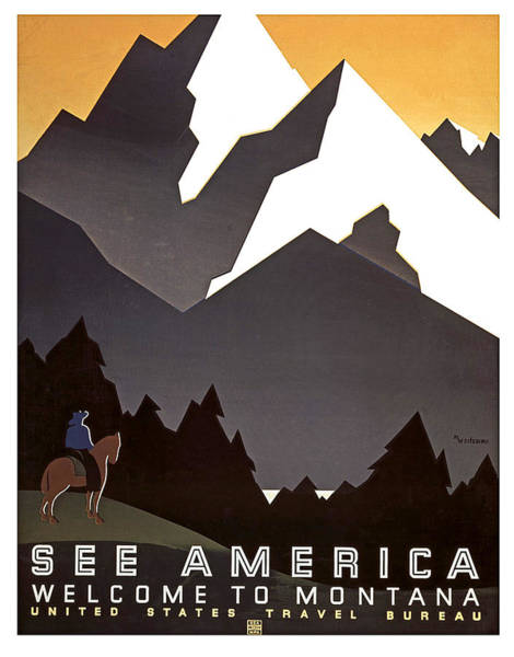 Wall Art - Painting - See America, Welcome To Montana by Long Shot