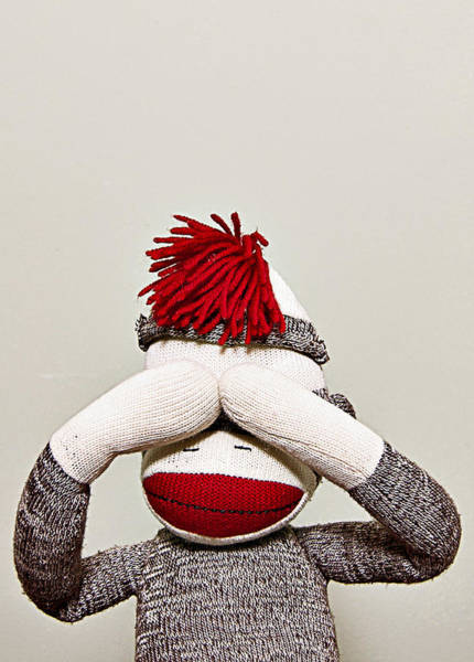 Sock Monkey Photograph - See No Evil by Amber Snead