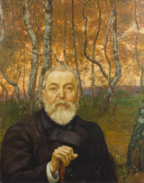 Wall Art - Painting - Self-portrait In A Birch Grove by Hans Thoma