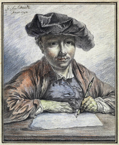 Painting - Self-portrait Sketching by Georg Friedrich Schmidt