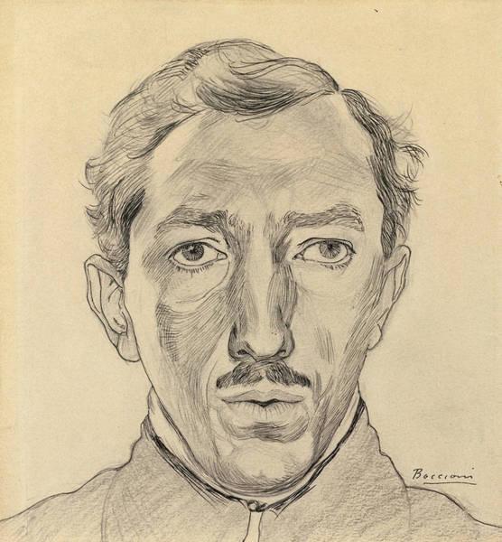 Boccioni Wall Art - Drawing - Self-portrait by Umberto Boccioni