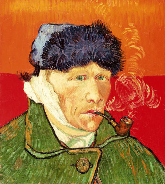 Ears Painting - Self Portrait With Bandaged Ear And Pipe by Vincent van Gogh