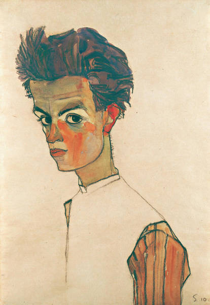 Selfportrait Painting - Self-portrait With Striped Shirt by Egon Schiele