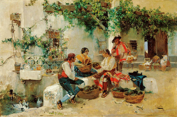 Melon Painting - Selling Melons by Joaquin Sorolla