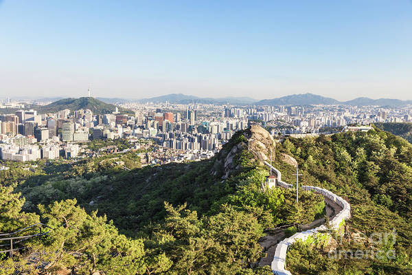 Photograph - Seoul City Wall From Inwangsan Mountain In South Korea Capital C by Didier Marti