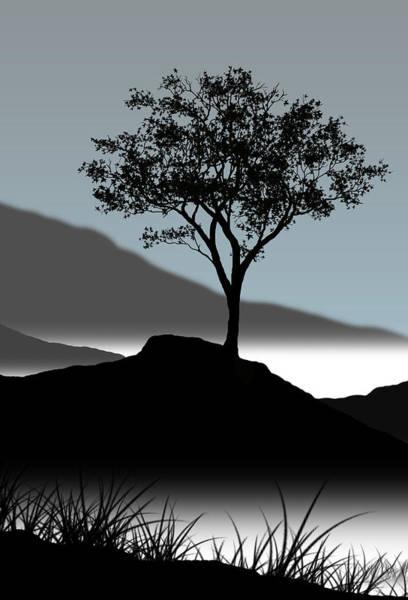 Single Tree Wall Art - Digital Art - Serene by Chris Brannen