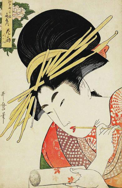 Kansai Painting - Series Of Courtesans Compared To Flowers  by Kitagawa Utamaro