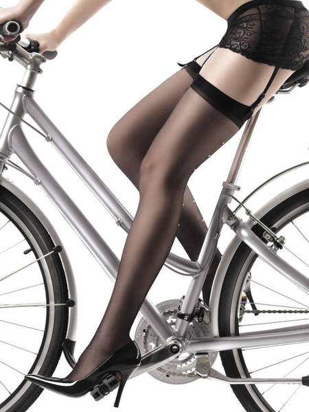 Stocking Wall Art - Photograph - Sexy Woman Riding A Bike by Maxim Images Prints