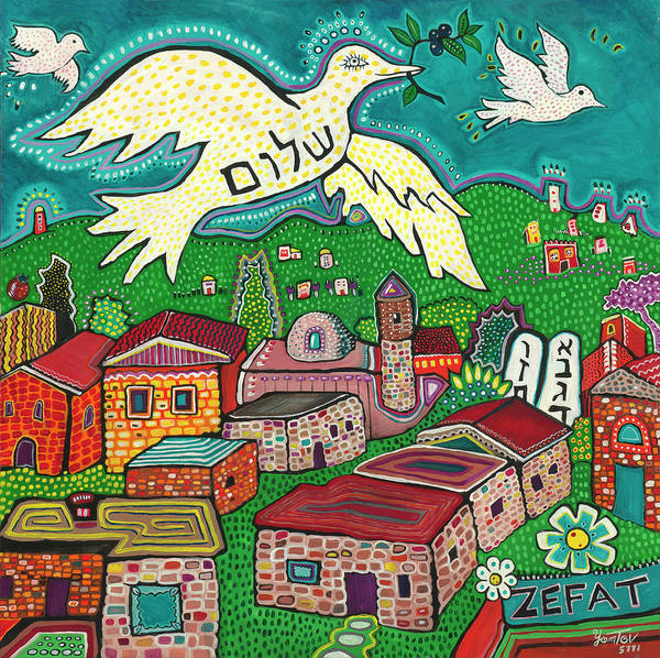 Painting - Shalom Over Tzfat by Yom Tov Blumenthal