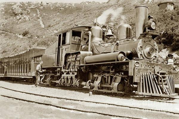 Photograph -  Shay Locomotive #7 Mount Tamalpais Circa 1910 by California Views Archives Mr Pat Hathaway Archives