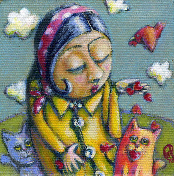 Wall Art - Painting - She Gave Her Hearts Away by Teresa Nolen Pratt