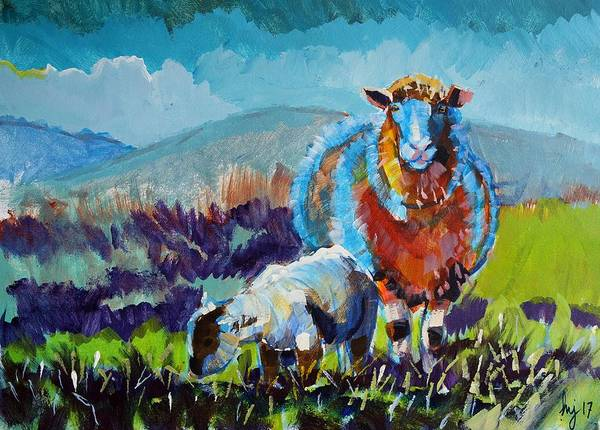 Painting - Sheep And Lamb Painting by Mike Jory