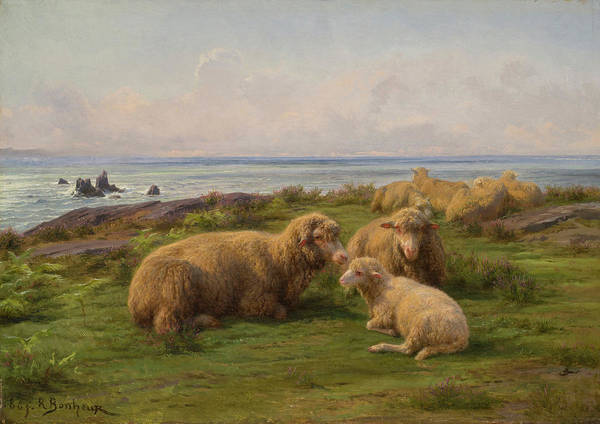 Sea Oats Painting - Sheep By The Sea by Rosa Bonheur