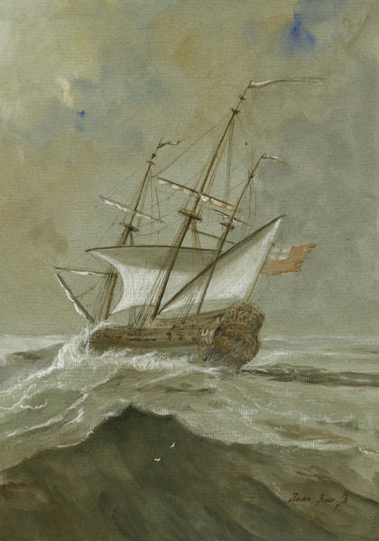 Nautical Wall Art - Painting - Ship At The Storm by Juan Bosco