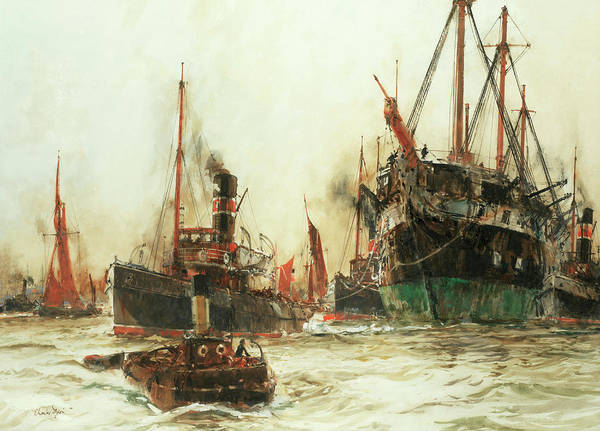 Pool Painting - Shipping In The Pool Of London by Charles Edward Dixon