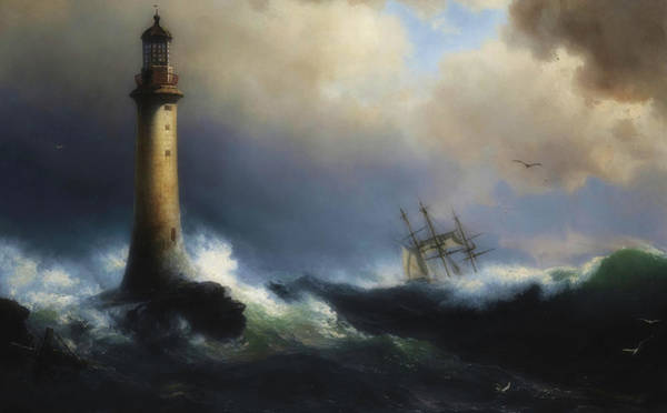 Wall Art - Painting - Shipping Off The Eddystone Lighthouse by Vilhelm Melbye