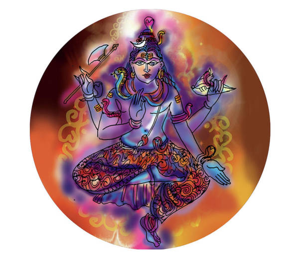 Painting - Shiva Dhyan by Guruji Aruneshvar Paris Art Curator Katrin Suter