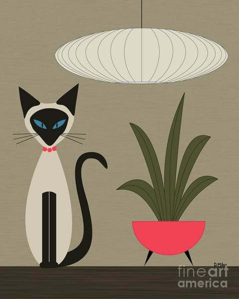 Digital Art - Siamese Cat On Tabletop by Donna Mibus