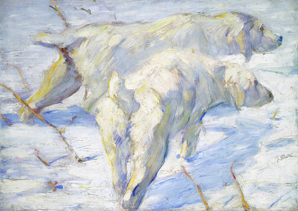 Painting - Siberian Dogs In The Snow by Franz Marc