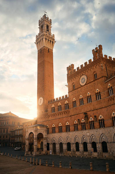 Photograph - Siena City Hall Bell Tower by Songquan Deng