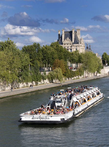 Palais Photograph - Sightseeing Boat On River Seine To Louvre Museum. Paris by Bernard Jaubert
