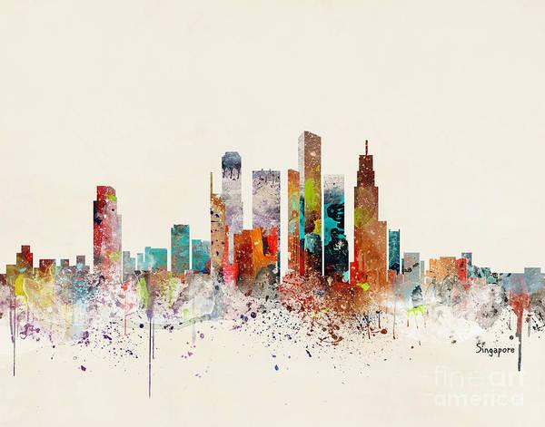 Wall Art - Painting - Singapore Skyline by Bri Buckley