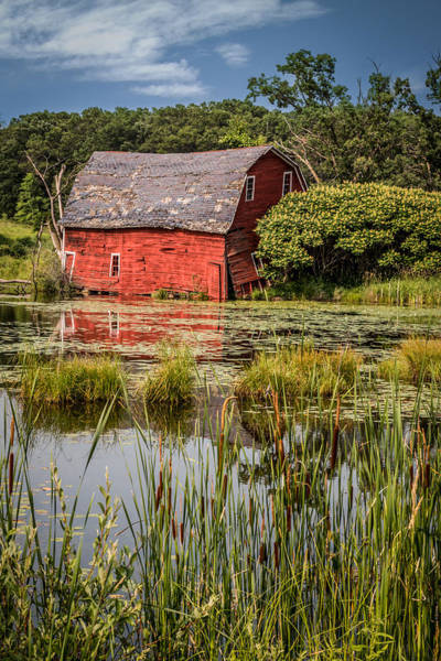 Photograph - Sinking Red Barn #1 by Patti Deters