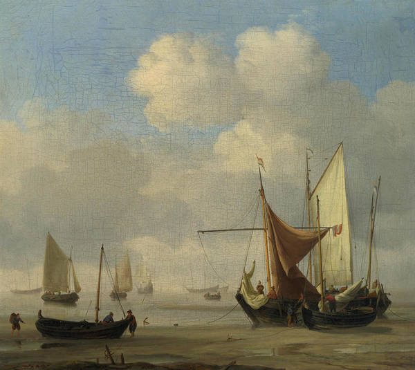 Ocean Scape Painting - Small Dutch Vessels Aground At Low Water In A Calm by Willem van de Velde