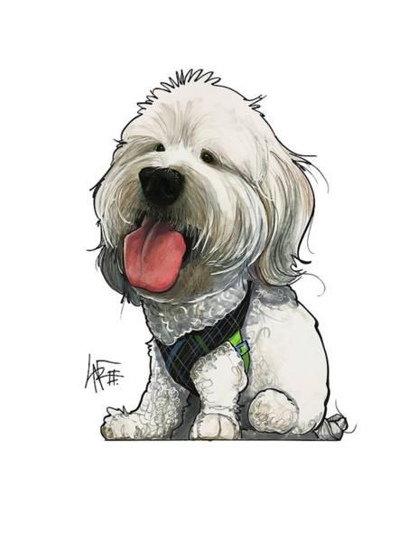 Pet Portrait Drawing - Deluna 3182 2 by John LaFree