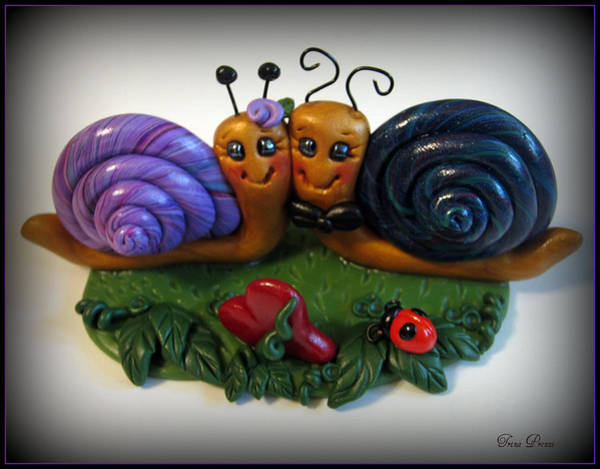 Polymer Clay Photograph - Snails In Love by Trina Prenzi