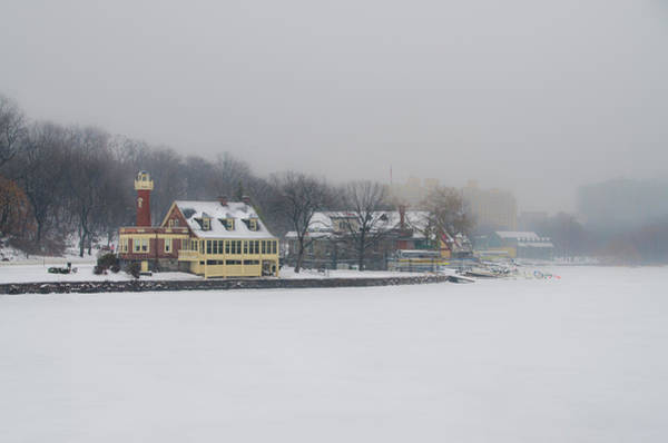 Photograph - Snow Falling On Boathouse Row by Bill Cannon