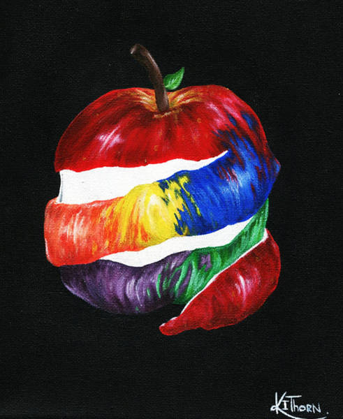 Apple Peel Painting - Snow White's Favourite by Kacey Thorn