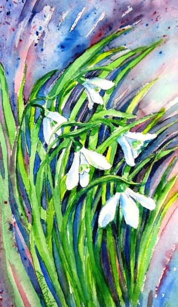 Snowdrop Painting - Snowdrops In The Wind   by Trudi Doyle
