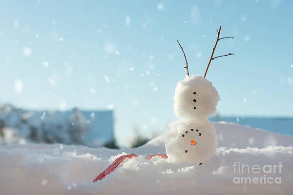 Wall Art - Photograph - Snowman Doing A Handstand by Amanda Elwell