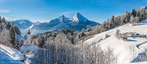 Wall Art - Photograph - Snowy Church In The Bavarian Alps In Winter by JR Photography