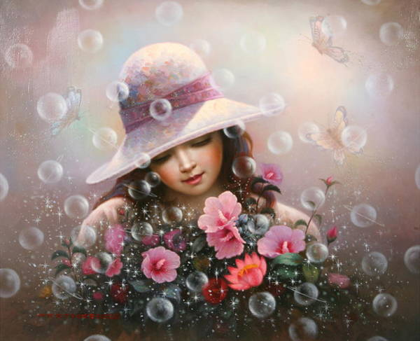 Wall Art - Painting - Soap Bubble Girl - Rose Sharon Of Song by Yoo Choong Yeul