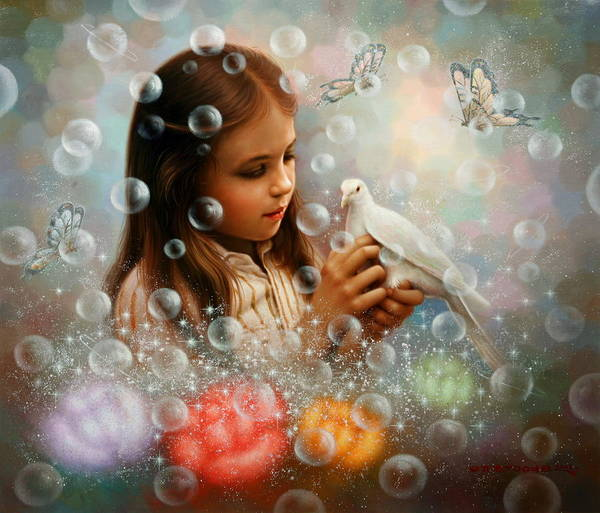 Wall Art - Painting - Soap Bubble Girl by Yoo Choong Yeul
