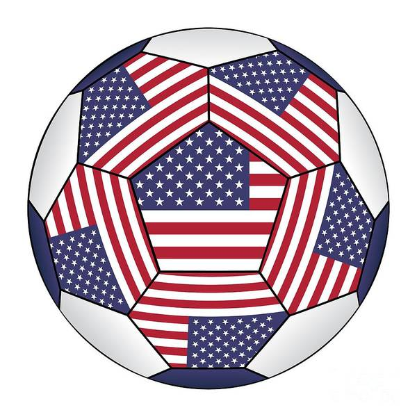 Digital Art - Soccer Ball With United States Flag by Michal Boubin