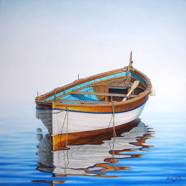 Fishing Boat Painting - Solitary Boat On The Sea by Horacio Cardozo