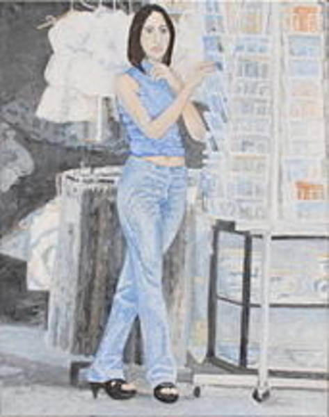 Wall Art - Painting - Sorrento Shop Girl by Thomas E Chapin