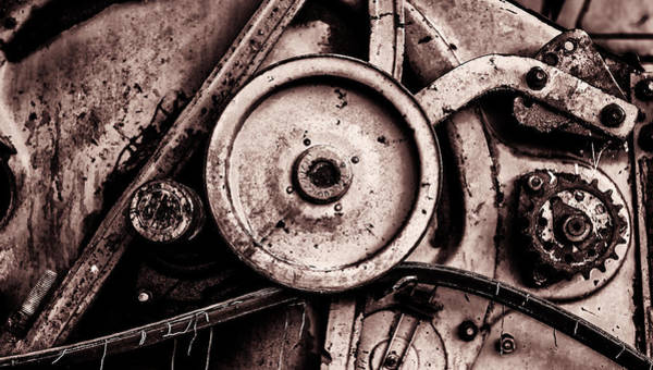 Photograph - Soviet Ussr Combine Harvester Abstract Cogs In Monochrome by John Williams