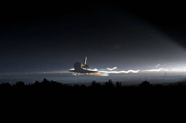 Space Shuttle Painting - Space Shuttle Atlantis Sts-135 Touches Down At Nasa's Kennedy Space Center by Celestial Images